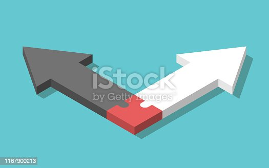 istock Opposite arrows, puzzle, connection 1167900213