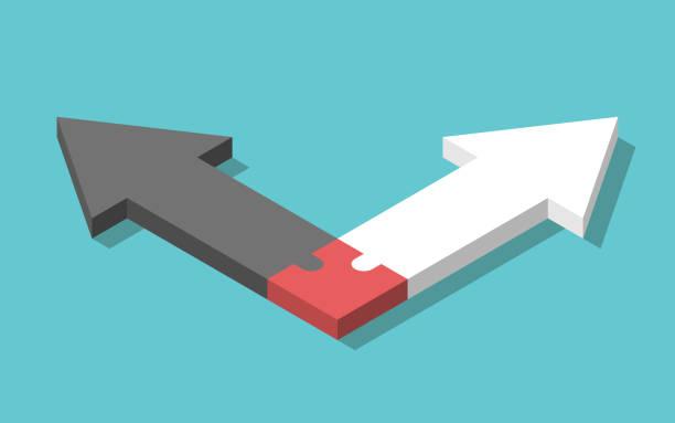 illustrazioni stock, clip art, cartoni animati e icone di tendenza di frecce opposte, puzzle, connessione - divorce