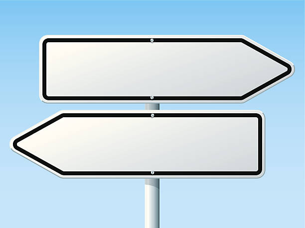 stockillustraties, clipart, cartoons en iconen met opposite direction road sign - wegwijzer bord
