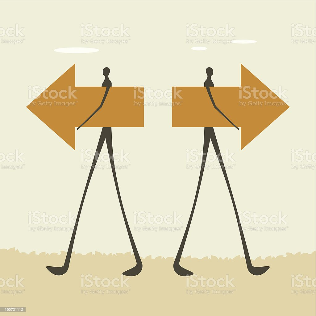 Opposite directions royalty-free stock vector art