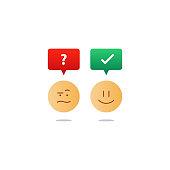 Opposite emotions, smile emoji, sad icon, customer services, feedback survey