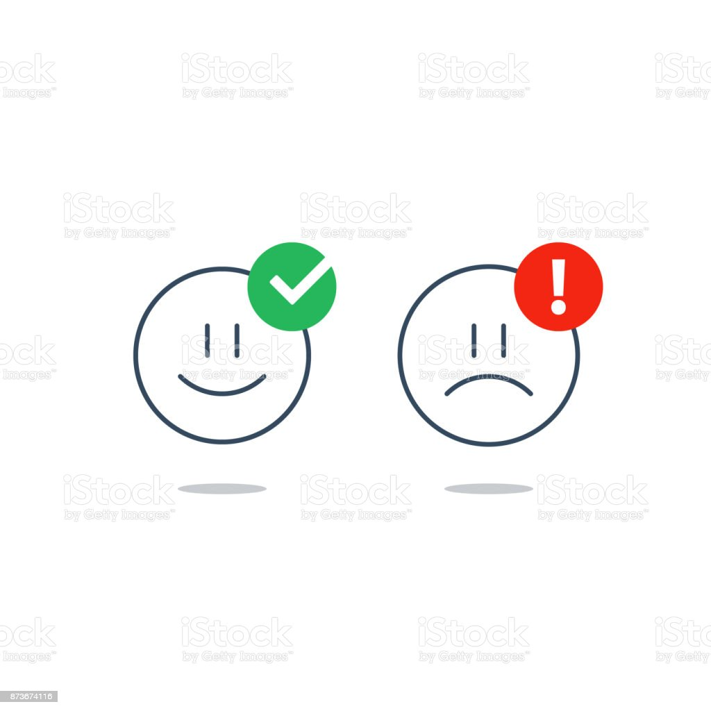 Opposite emotions, smile emoji, sad icon, customer services, feedback survey vector art illustration