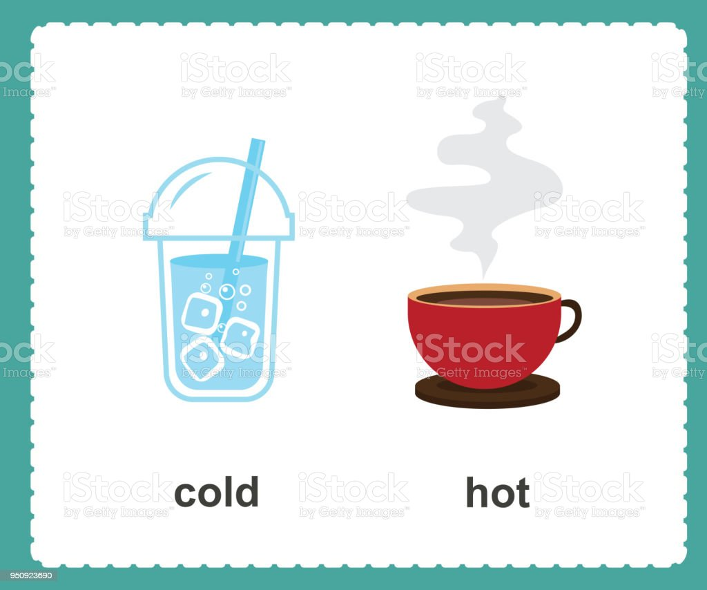 Opposite English cold and hot vector illustration vector art illustration