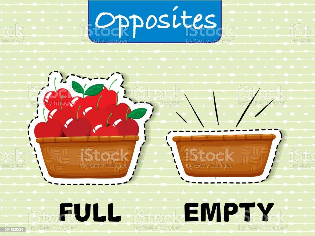 Opposite English Word on Green Background vector art illustration