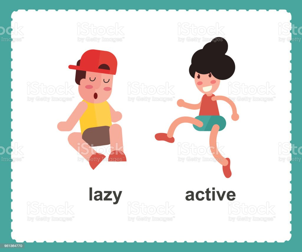 Opposite English Words active and lazy vector illustration vector art illustration