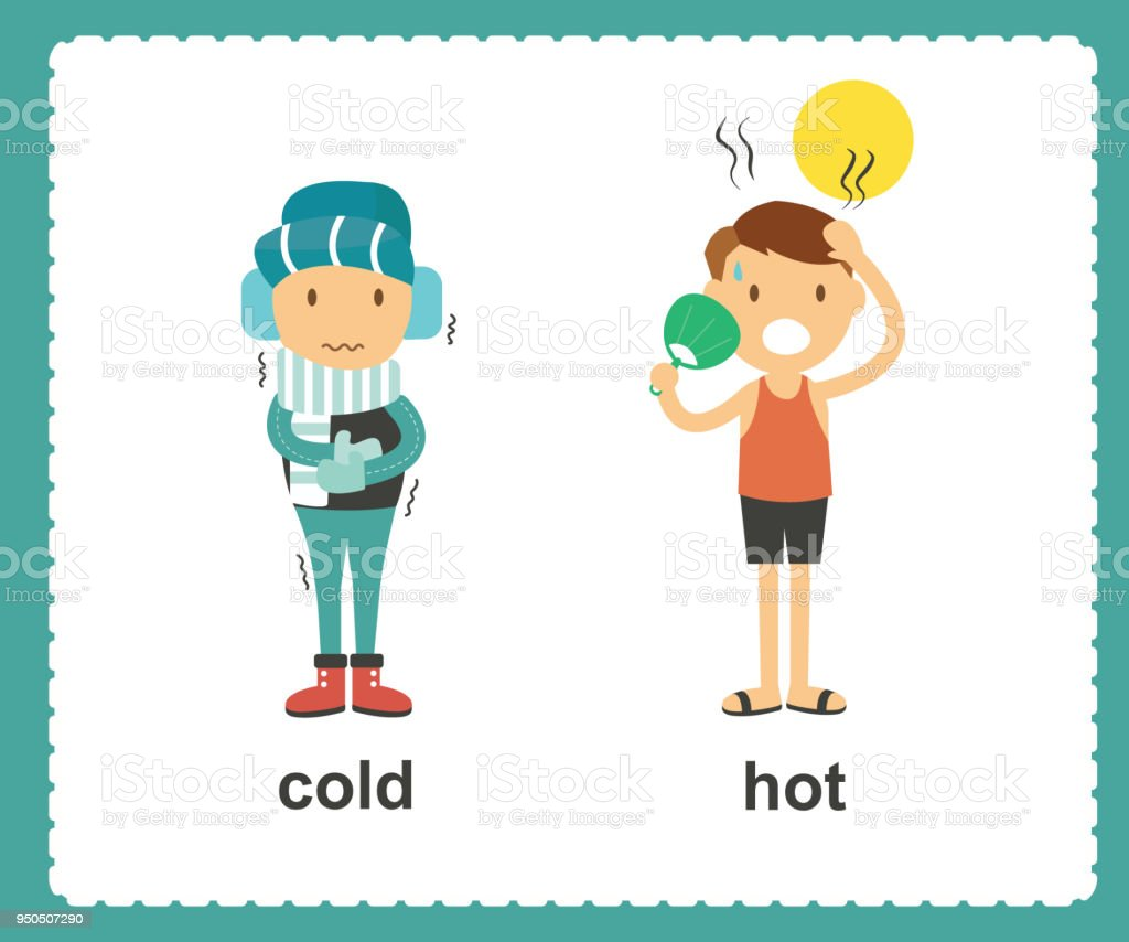 Opposite English Words Cold And Hot Vector Illustration ...