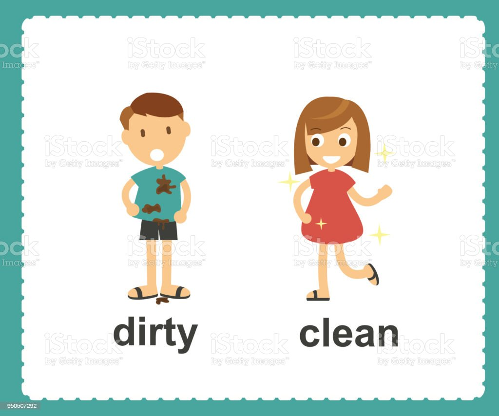 Opposite English Words dirty and clean vector illustration vector art illustration