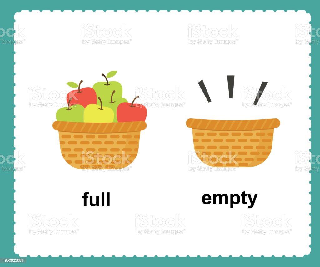 Opposite English Words full and empty vector illustration vector art illustration
