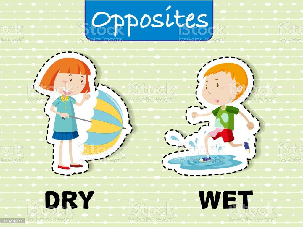 Opposite English Words on Green Background vector art illustration