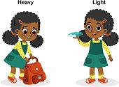 Opposite heavy and light vector illustration.