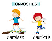 Opposite word of careless and cautious