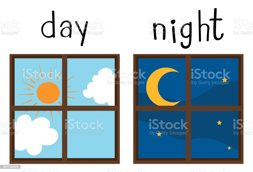 Opposite wordcard for day and night vector art illustration