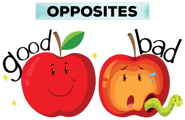 opposite wordcard with good and bad - rotten apple stock illustrations, clip art, cartoons, & icons