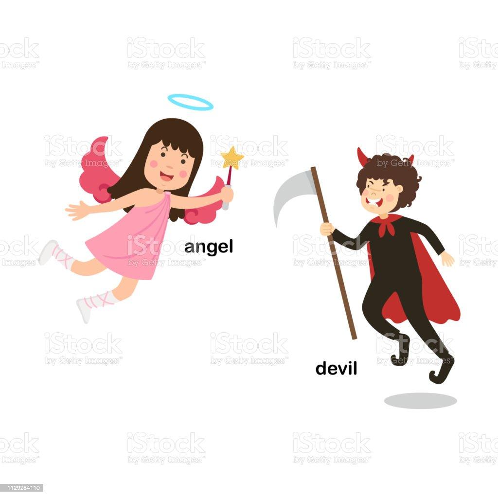 Tegenover De Woorden Duivel En Engel Stockvectorkunst En