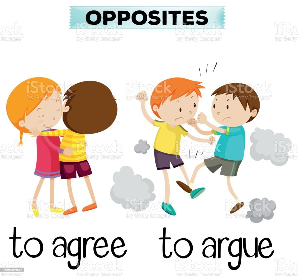 Opposite words for agree and argue vector art illustration