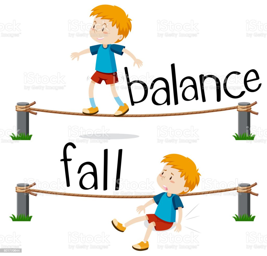 Opposite words for balance and fall vector art illustration
