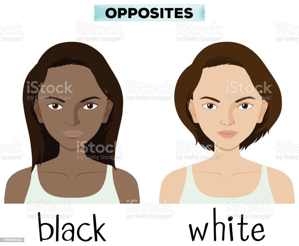 Opposite words for black and white vector art illustration