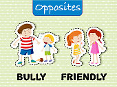 Opposite words for bully and friendly