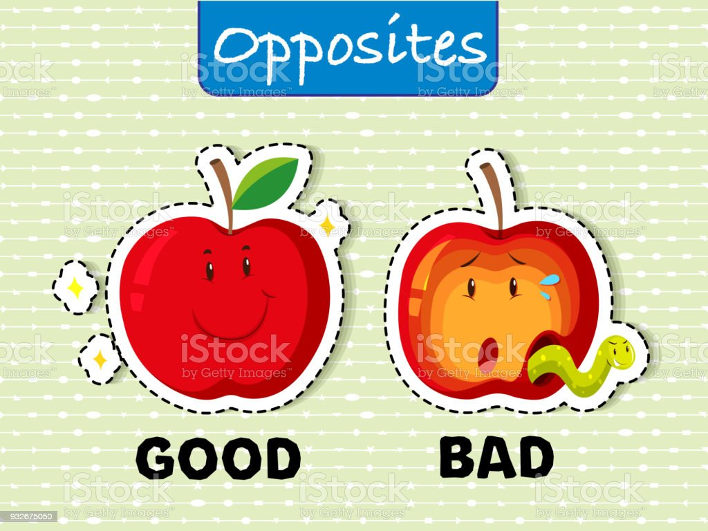 Opposite words for good and bad vector art illustration