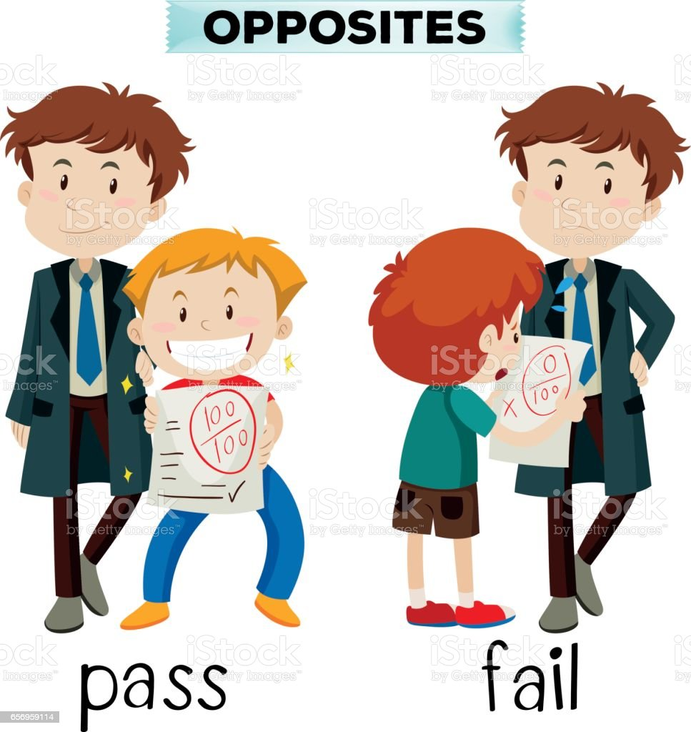 Opposite words for pass and fail vector art illustration