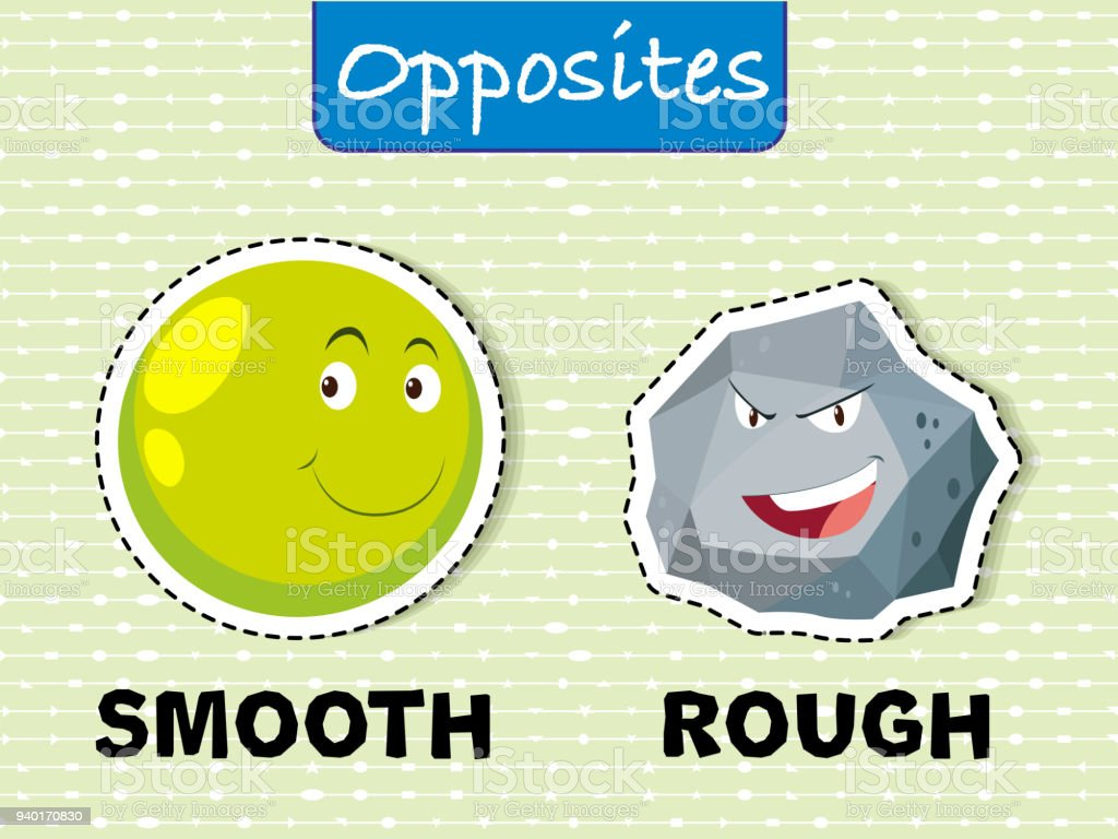 Opposite words for smooth and rough vector art illustration