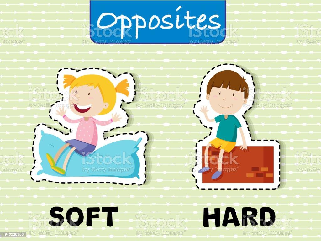 Opposite words for soft and hard vector art illustration