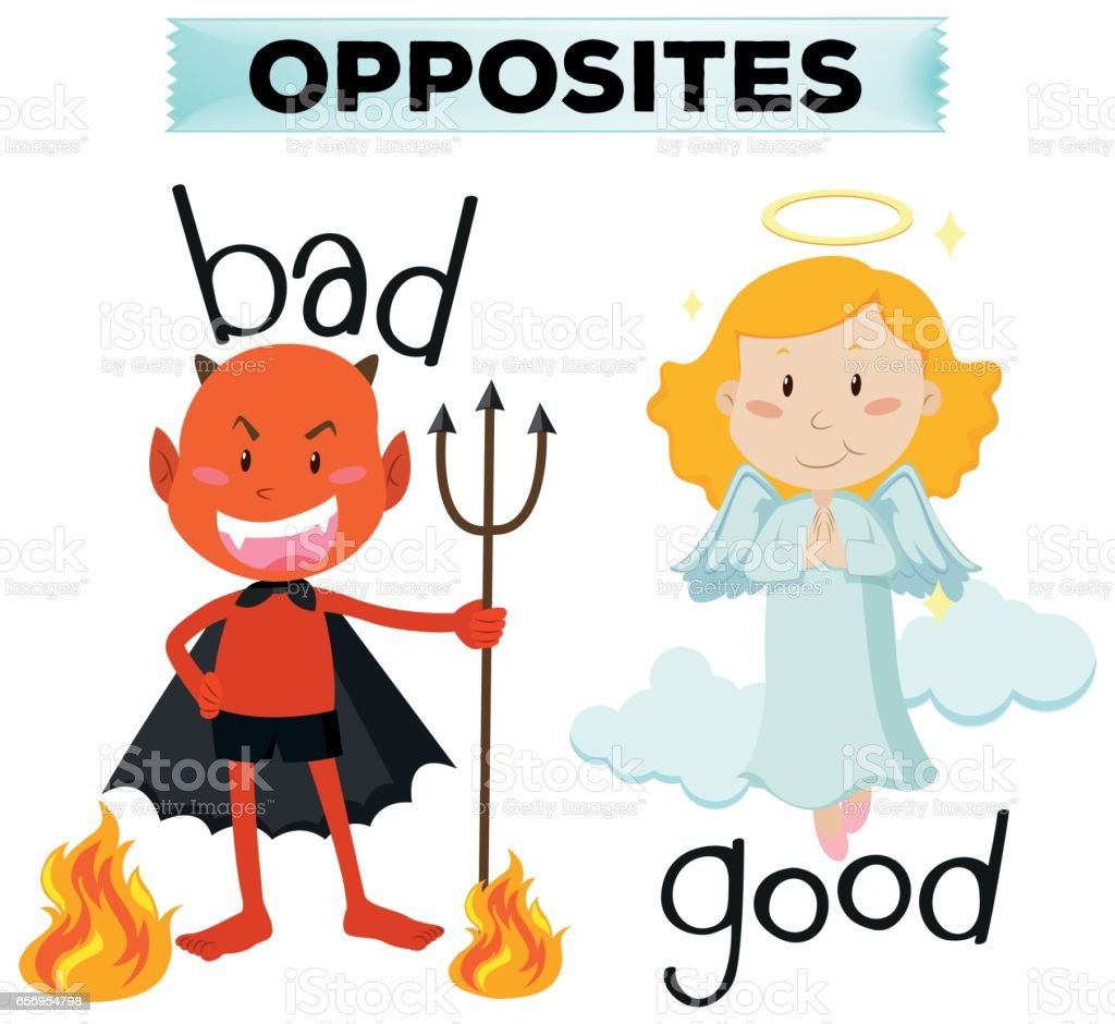 Opposite words with bad and good vector art illustration