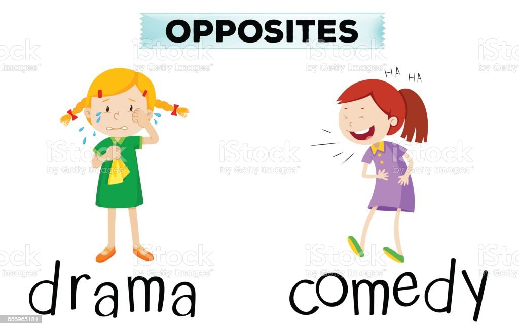 Opposite words with drama and comedy vector art illustration