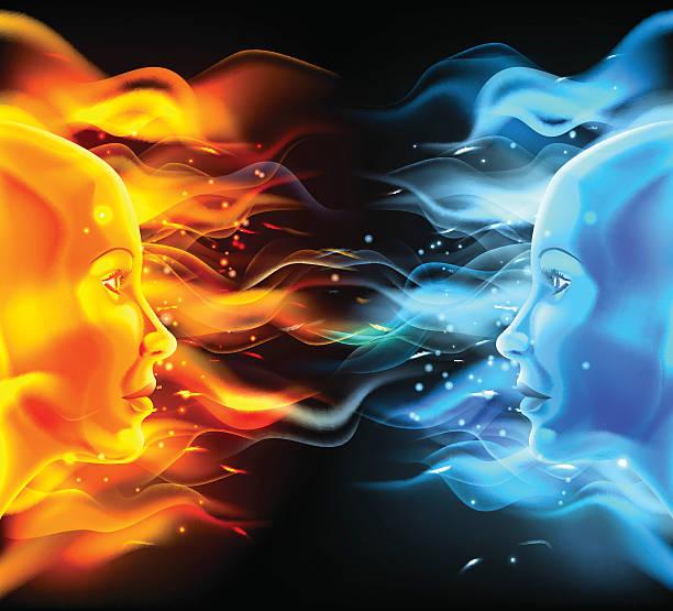 illustrazioni stock, clip art, cartoni animati e icone di tendenza di gli opposti si concetto - ice on fire