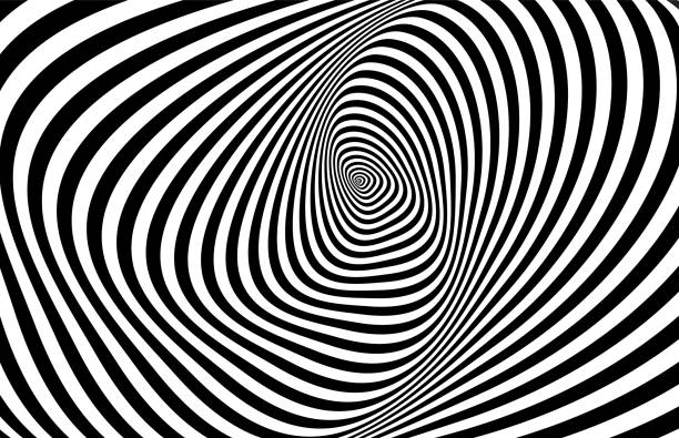 Optical 3D illusion Hypnotic stripes ornament. psychedelic stock illustrations