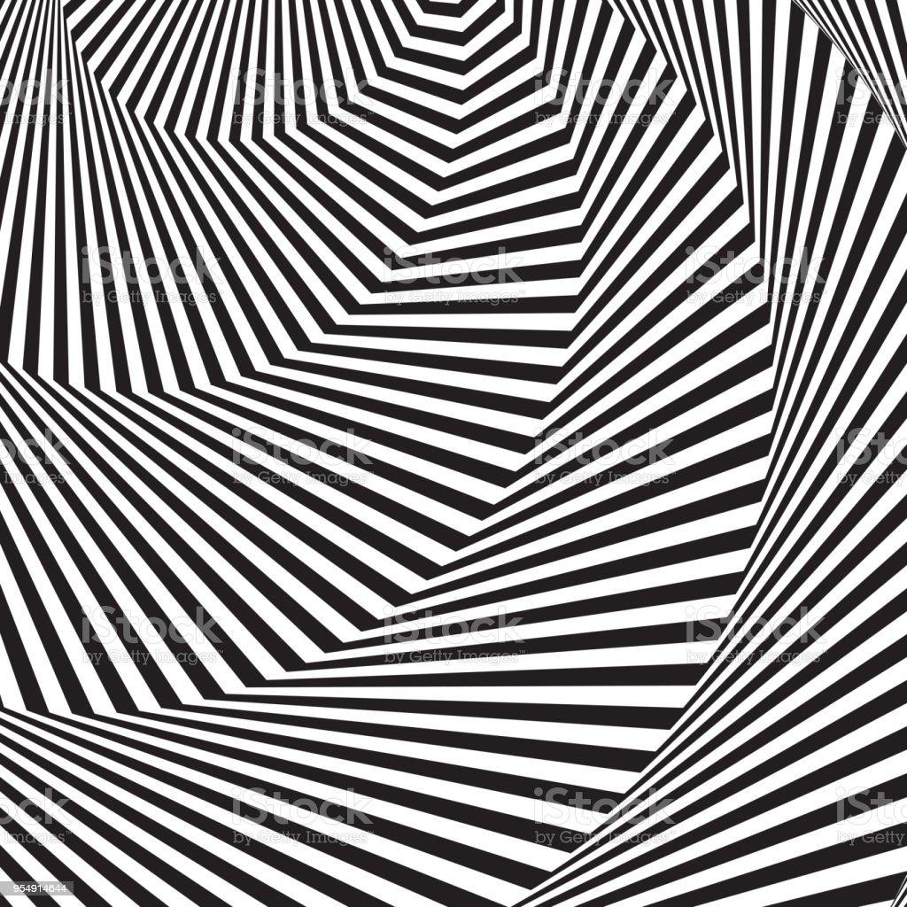 Contexte De Lart Optique Illusion Doptique 3d Moderne Ondulé Fond Géométrique Modèle Vectoriel Monochrome Concevoir Pour Wallpaper Enveloppant Tissu