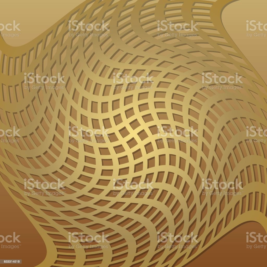 Optical Art Background With 3d Illusion Deformed Golden Grid Low ...
