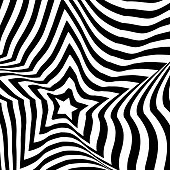Vector illustration of a black and white optical art and illusion design, good also as a background or wallpaper in mobile apps, social media platforms, business and technology presentations and all kinds of design projects, ideas and concepts.