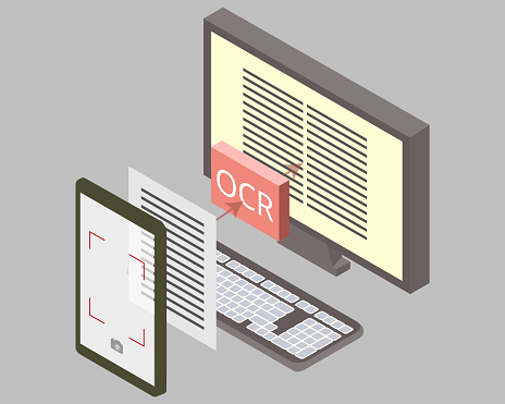 Optical Character Recognition (OCR) technology by recognize text from photo vector
