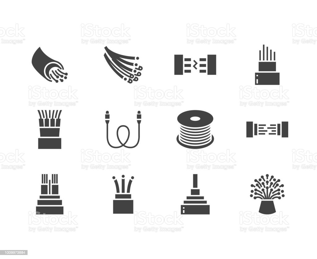 Optical fiber flat glyph icons. Network connection, computer wire, cable bobbin, data transfer. Signs for electronics store, internet services. Solid silhouette pixel perfect 64x64 vector art illustration
