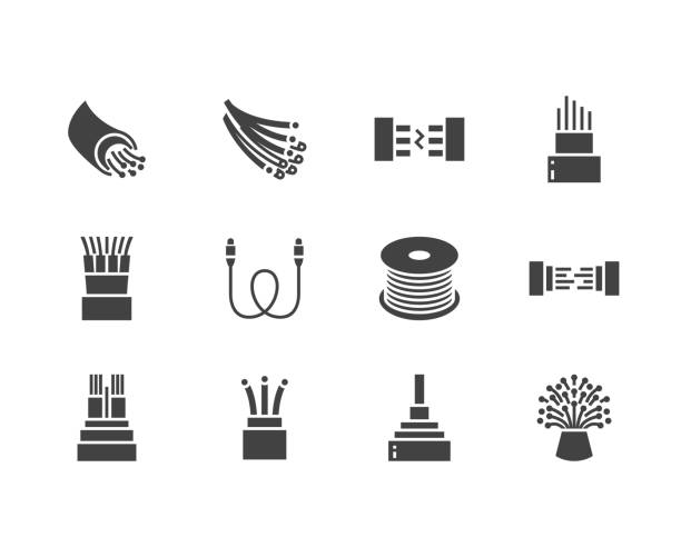 Optical fiber flat glyph icons. Network connection, computer wire, cable bobbin, data transfer. Signs for electronics store, internet services. Solid silhouette pixel perfect 64x64 Optical fiber flat glyph icons. Network connection, computer wire, cable bobbin, data transfer. Signs for electronics store, internet services. Solid silhouette pixel perfect 64x64. fiber stock illustrations