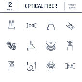 Optical fiber flat line icons. Network connection, computer wire, cable bobbin, data transfer. Thin signs for electronics store, internet services. Editable Strokes