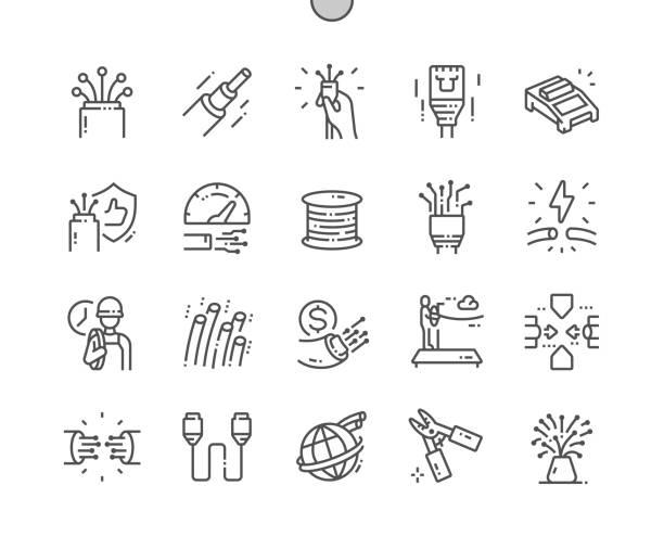 illustrations, cliparts, dessins animés et icônes de fibre optique bien conçu pixel perfect vector thin line icons 30 2x grille pour les graphiques web et les applications. pictogramme minimal simple - fibre