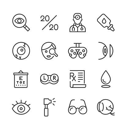 Optical Health Icons — Monoline Series