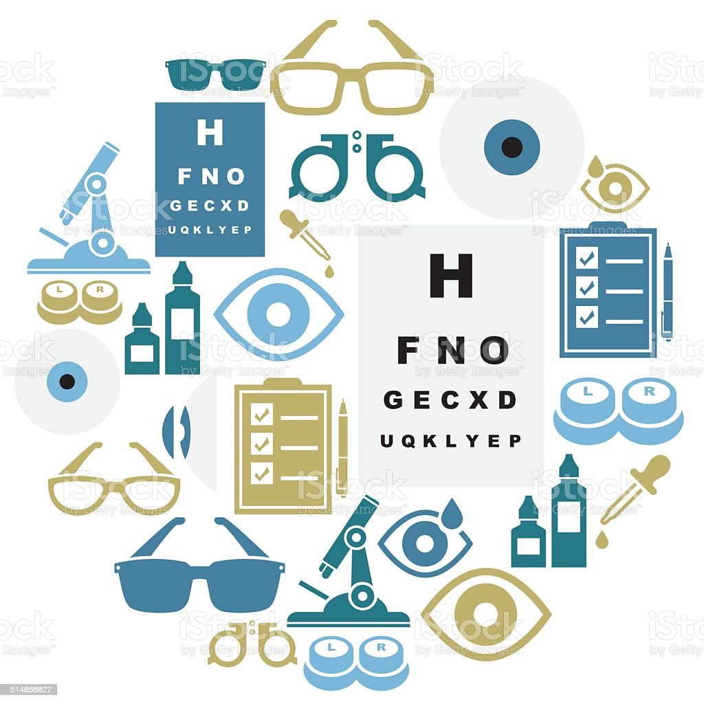 Optical Icon Set vector art illustration