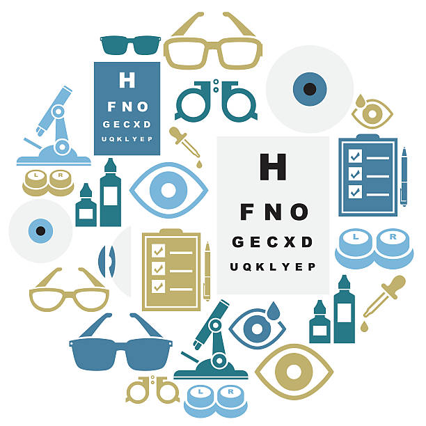 optical icon set - optometrist stock illustrations, clip art, cartoons, & icons