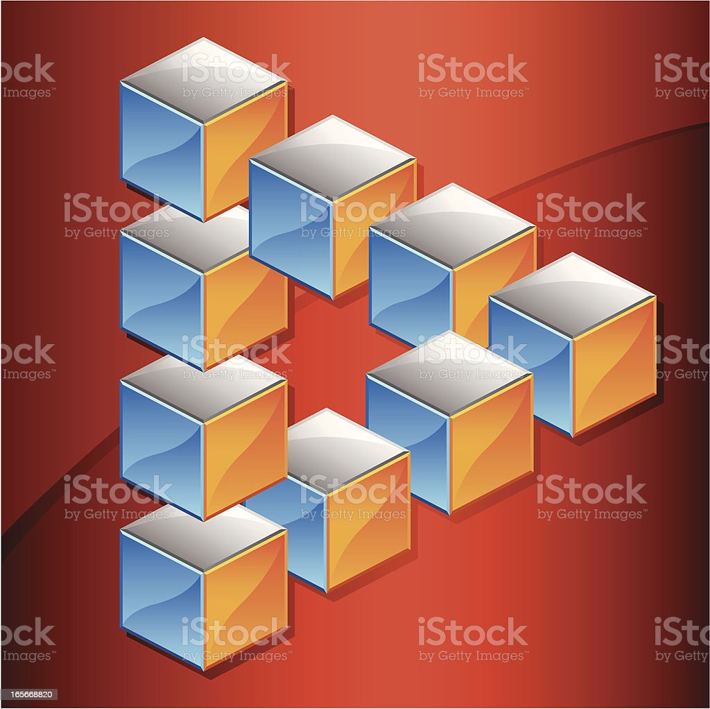 Optical Illusion, Impossible Triangle An optical illusion in the form of an impossible triangle made of 3D metallic cubes, with the shape of a six-pointed star appearing in the center Cartoon stock vector