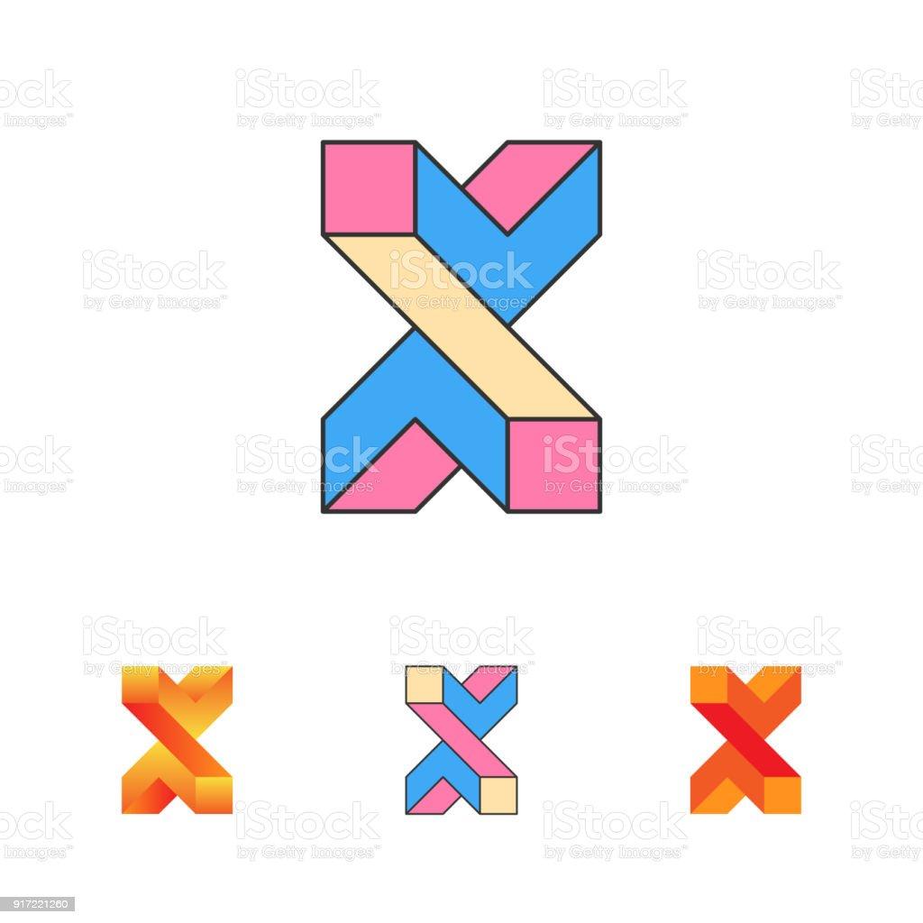 Ilustracion De Simbolo De La Ilusion Optica Letra X Plantilla 3d