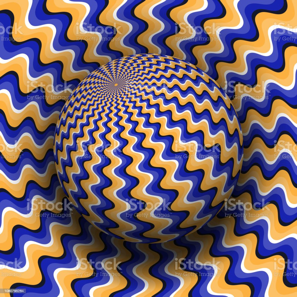 Optical illusion vector illustration. Blue orange wavy patterned...