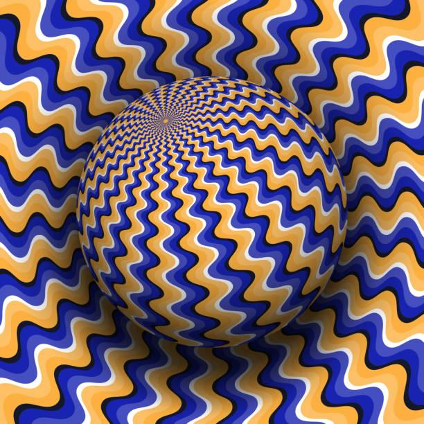 optische täuschung-vektor-illustration. blaue orange wellig gemusterten kugel über die gleiche fläche. - surreal stock-grafiken, -clipart, -cartoons und -symbole