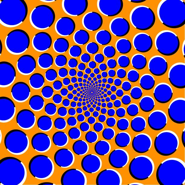 ilustrações de stock, clip art, desenhos animados e ícones de optical illusion with blue circles on a orange background - active brain