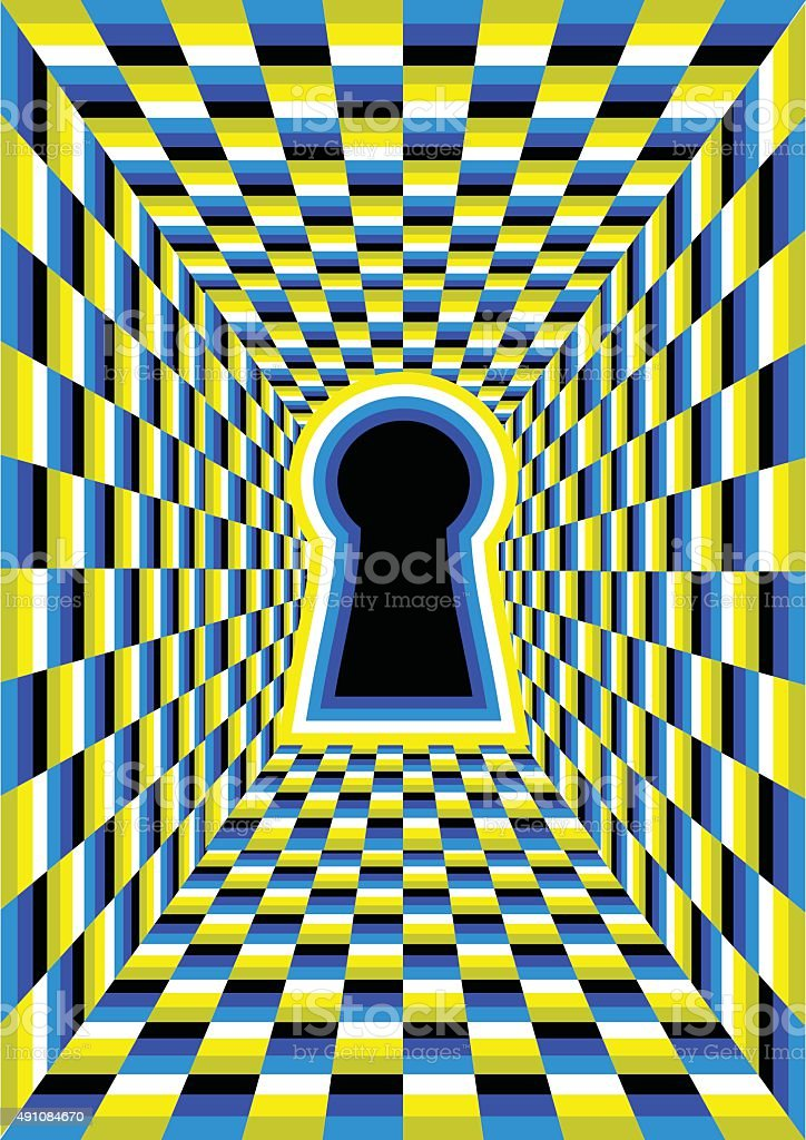 optical illusion with hole vector art illustration