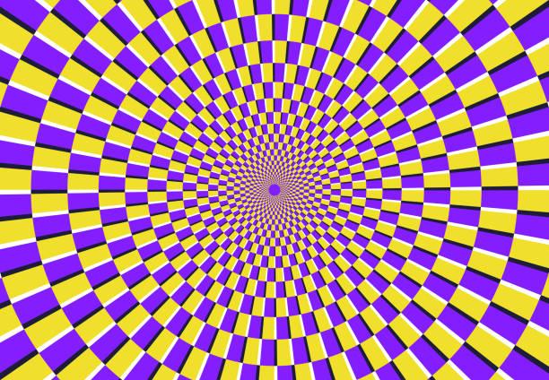 stockillustraties, clipart, cartoons en iconen met optische spiraal illusie. magische psychedelische patroon, swirl illusies en hypnotische abstracte achtergrond vector illustratie - verbeelding