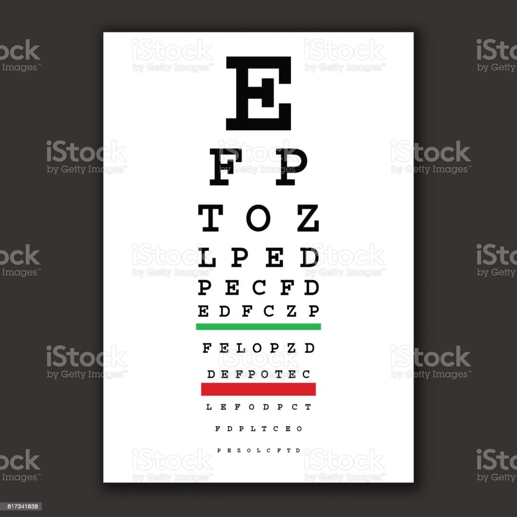 optical vision test vector chart vector art illustration