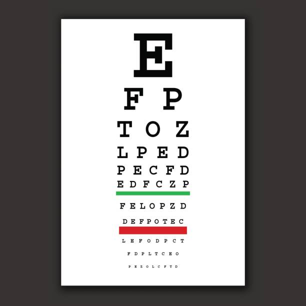 optical vision test vector chart - optometrist stock illustrations, clip art, cartoons, & icons